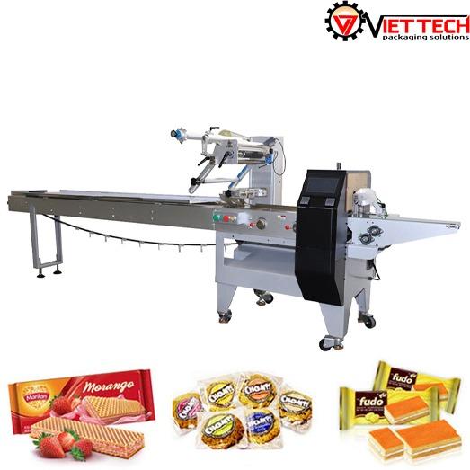 Máy đóng gói bánh quy, bánh gạo , bánh mì . và các sản phẩm tương tự .  3servo